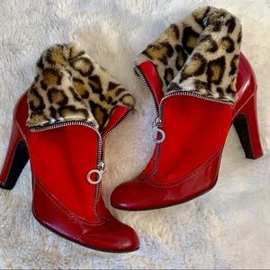 Marc Jacobs Red Patent Leopard Booties